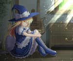 1girl bare_legs black_footwear blonde_hair boots bow bowtie broom cross-laced_footwear drawer dress frilled_dress frilled_skirt frills fusen guitar hands_together hat indoors instrument kirisame_marisa lace-up_boots legs_together looking_at_viewer sitting skirt smug sunlight touhou window witch witch_hat yellow_eyes