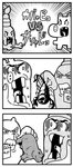 3koma ac-bu_(style) animal arachnid bkub bobunemimimmi clenched_teeth comic commentary emphasis_lines fangs greyscale halftone hand_on_another's_face highres hippopotamus holding monochrome no_humans open_mouth parody poptepipic scorpion shaded_face simple_background style_parody sweat teeth translated white_background
