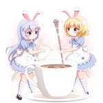 2girls animal_ears apron bangs black_footwear blonde_hair blue_dress blue_eyes blue_hair blush bunny_ears closed_mouth coffee commentary_request cup dress eighth_note eye_contact eyebrows_visible_through_hair frilled_apron frills gochuumon_wa_usagi_desu_ka? goth_risuto green_eyes hair_between_eyes hair_ornament hairband holding holding_spoon kafuu_chino kirima_sharo kneehighs long_hair looking_at_another milk minigirl multiple_girls musical_note puffy_short_sleeves puffy_sleeves saucer shoes short_sleeves simple_background smile spoon standing striped striped_legwear teacup very_long_hair white_apron white_background white_hairband wrist_cuffs x_hair_ornament