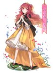 1girl alternate_costume beads beauty_and_the_beast black_cloak blonde_hair broken_glass brooch cherry_blossoms cloak corset flower full_body glass glint gradient_hair hair_bun half_updo hands_up highres hijiri_byakuren holding holding_flower hood hooded_cloak jewelry long_hair long_skirt looking_at_viewer multicolored_hair own_hands_together parted_lips petals pink_eyes purple_flower purple_hair red_flower red_rose rose shan skirt solo standing thorns tiara touhou translation_request transparent_background wavy_hair yellow_skirt