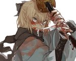 angry black_bow black_scarf blonde_hair blood bow fate/grand_order fate_(series) grey_eyes holding holding_sword holding_weapon japanese_clothes katana kuwabara_(medetaya) sakura_saber scarf shinsengumi sword teeth weapon white_background wrapping