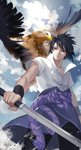 1boy ana_bi animal bird black_eyes black_hair black_pants cloud cloudy_sky commentary_request cowboy_shot day eagle high_collar highres holding holding_sword holding_weapon male_focus naruto_(series) naruto_shippuuden pants rope shirt short_sleeves sky solo standing sword uchiha_sasuke weapon white_shirt zipper