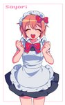 1girl :d ^_^ alternate_costume border bow bowtie brown_hair character_name clenched_hands closed_eyes cowboy_shot doki_doki_literature_club enmaided facing_viewer hair_bow hands_up maid maid_headdress open_mouth red_bow red_neckwear sasakama_(sasagaki01) sayori_(doki_doki_literature_club) short_hair short_sleeves simple_background smile solo white_background