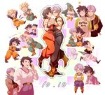 3boys :d :o annoyed baby black_eyes black_hair blonde_hair blue_eyes blush_stickers butterfly cellphone dancing dougi dragon_ball dragon_ball_z fusion_dance gotenks long_sleeves male_focus multiple_boys number open_mouth phone purple_hair running short_hair smile son_goten spiked_hair super_saiyan trunks_(dragon_ball) wristband