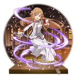 1girl :d artist_request asuna_(sao) boots braid brown_footwear brown_hair crown_braid floating_hair full_body hair_between_eyes highres holding holding_sword holding_weapon jacket long_hair long_skirt long_sleeves looking_at_viewer official_art open_mouth orange_eyes skirt smile solo sword sword_art_online transparent_background very_long_hair weapon white_jacket white_skirt