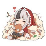 1girl animal_ears black_hair bone branch chibi closed_eyes commentary_request fire_emblem fire_emblem_fates grey_hair holding hood hood_up leaf long_sleeves multicolored_hair pants shunrai simple_background sitting solo streaked_hair stuffed_animal stuffed_toy tail teddy_bear velouria_(fire_emblem) white_background wolf_ears wolf_tail