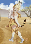 1boy absurdres animal_ears animal_print bare_shoulders blonde_hair blue_sky boots cloud commentary commentary_request cosplay crossdressing day dragon_ball elbow_gloves eyebrows facial_mark forehead_mark full_body gloves green_eyes highres kemono_friends looking_at_viewer majin_vegeta muscle nature outdoors savannah serval_(kemono_friends) serval_(kemono_friends)_(cosplay) serval_ears serval_print serval_tail shirt short_hair skirt sky sleeveless sleeveless_shirt smile solo standing tail thighhighs trait_connection usagiherb_(z753503634) vegeta white_boots white_shirt zettai_ryouiki