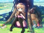 1girl :3 apple backpack bag black_legwear blonde_hair blush book closed_mouth day eyebrows_visible_through_hair food fruit green_eyes holding holding_book looking_at_viewer map original outdoors pocket_watch psyche3313 short_hair sitting smile solo sword test_tube thighhighs tree tree_shade watch weapon