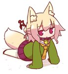 1girl :o animal_ear_fluff animal_ears arm_support bangs bell bell_collar blush brown_collar brown_footwear collar commentary_request eyebrows_visible_through_hair fox_ears fox_girl fox_tail full_body green_shirt hair_between_eyes hair_bun hair_ornament highres jingle_bell kemomimi-chan_(naga_u) long_hair long_sleeves looking_at_viewer naga_u orange_neckwear original parted_lips pleated_skirt purple_skirt red_eyes ribbon-trimmed_legwear ribbon_trim sailor_collar shadow shirt sidelocks skirt sleeves_past_fingers sleeves_past_wrists solo tail thighhighs white_background white_legwear white_sailor_collar