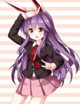 1girl :d animal_ears bunny_ears hair_between_eyes highres long_hair necktie open_mouth pink_skirt pleated_skirt purple_hair red_eyes red_neckwear reisen_udongein_inaba ruu_(tksymkw) skirt smile solo striped striped_background touhou very_long_hair