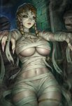 1girl artist_name bandages bangs bare_shoulders blonde_hair braid breasts circlet commentary cowboy_shot earrings elf fingernails green_eyes halloween hands_up highres indoors jewelry large_breasts long_fingernails long_hair looking_at_viewer monster_girl mummy mummy_costume naked_bandage navel necklace original parted_lips piercing pink_nails pointy_ears sciamano240 sidelocks solo standing thighlet toned underboob