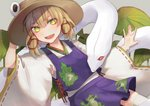 13_(spice!!) 1girl :d animal animal_print arm_at_side arm_up blonde_hair blush bright_pupils cross-laced_clothes detached_sleeves fang frog_print green_eyes hair_between_eyes hair_ribbon hand_on_headwear leaf_print lily_pad long_sleeves mishaguji moriya_suwako open_mouth outstretched_arm outstretched_hand purple_skirt purple_vest pyonta red_eyes red_ribbon ribbon ribbon_trim shirt short_hair skirt skirt_set slit_pupils smile snake solo thighhighs touhou vest white_legwear white_pupils white_shirt wide_sleeves yellow_eyes