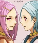 2girls anemone_(eureka_seven) aqua_hair bangs blue_hair collar eureka eureka_seven eureka_seven_(series) hair_ornament hairclip hankuri long_hair multiple_girls parted_bangs pink_eyes pink_hair profile short_hair smile