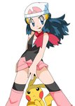 1girl :p absurdres beanie blue_eyes blue_hair blush covering covering_crotch hainchu hat highres hikari_(pokemon) looking_at_viewer looking_up pikachu pokemon pokemon_(anime) red_scarf scarf simple_background skirt tongue tongue_out white_background