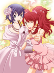 2girls bag blue_eyes blue_hair breasts brown_eyes dress earrings flower gloves hair_flower hair_ornament handbag jewelry kujikawa_rise looking_at_viewer medium_breasts multiple_girls necklace one_eye_closed open_mouth pearl_necklace persona persona_4 pink_dress purple_dress red_hair sake_asari shirogane_naoto short_hair smile star star_earrings twintails