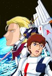 2boys 80s amuro_ray anniversary beam_saber blonde_hair blue_eyes brown_hair char's_counterattack char_aznable earth emblem energy_sword fin_funnels funnels green_eyes gundam insignia logo looking_at_another looking_at_viewer looking_away mecha multiple_boys no_headwear no_helmet nu_gundam official_art oldschool open_mouth orbit photo_background pilot_suit planet shield short_hair space spacesuit standing star star_(sky) starry_background sword tokita_kouichi weapon zero_gravity
