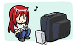 1girl :> aozaki_aoko blush_stickers chibi controller game_console game_controller jonathan_kim long_hair lowres melty_blood musical_note playing_games red_hair sitting solo television tsukihime wii wii_remote |_|