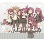 1boy 6+girls ^_^ ^o^ animal_ears black_legwear breasts brown_eyes brown_hair closed_eyes copyright_name facing_another fox_ears glasses japanese_clothes kemurikusa kneehighs kolshica large_breasts long_hair looking_at_another looking_to_the_side miko multiple_girls pantyhose purple_hair riku_(kemurikusa) rin_(kemurikusa) rina_(kemurikusa) ritsu_(kemurikusa) ryou_(kemurikusa) ryouku_(kemurikusa) shiro_(kemurikusa) short_hair sitting wakaba_(kemurikusa)
