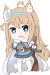 1girl :d ahoge animal_ears bailingxiao_jiu bangs belt_buckle blue_eyes blue_hairband blue_jacket blue_skirt blush brown_belt buckle cape cat_ears cat_girl cat_tail chibi commentary_request eyebrows_visible_through_hair fang full_body fur-trimmed_jacket fur_trim girls_frontline gloves gun hair_between_eyes hairband heart heart-shaped_pupils highres holding holding_gun holding_weapon jacket kemonomimi_mode light_brown_hair long_hair long_sleeves no_shoes object_namesake open_mouth sidelocks simple_background skirt smile solo standing striped submachine_gun suomi_kp/-31 suomi_kp31_(girls_frontline) symbol-shaped_pupils tail thighhighs vertical-striped_skirt vertical_stripes very_long_hair weapon white_background white_cape white_gloves white_legwear