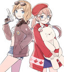 2girls america_(hetalia) axis_powers_hetalia bad_id bad_pixiv_id bear blonde_hair blue_eyes bomber_jacket canada_(hetalia) denim denim_shorts eyewear_on_head front-tie_top genderswap genderswap_(mtf) glasses gomi_chiri grin gun hair_ornament hair_ribbon hand_in_pocket handgun hat holding jacket kumajirou_(hetalia) leaf light_brown_hair long_hair long_sleeves looking_at_viewer maple_leaf midriff multiple_girls open_mouth pistol polar_bear ribbon shirt short_hair short_shorts shorts siblings simple_background sisters smile star sunglasses tied_shirt twintails weapon white-framed_eyewear white_background