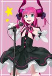 1girl :d black_bow blue_eyes bow corset detached_sleeves fate/extra fate/extra_ccc fate/grand_order fate_(series) highres horns lancer_(fate/extra_ccc) lonwi21 looking_at_viewer microphone microphone_stand open_mouth pointy_ears smile solo standing star