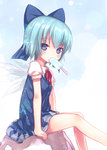 1girl bad_id bad_pixiv_id blue_eyes blue_hair blush bow cirno food hair_bow kiira looking_at_viewer popsicle short_hair sitting solo touhou wings