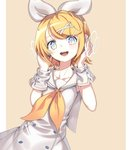 1girl alternate_costume ascot blonde_hair blue_eyes bow bright_pupils buttons detached_sleeves dress frank_lee_(dfgh132) hair_bow hair_ornament hairclip hands_on_head hands_on_headphones headphones headset highres kagamine_rin listening_to_music multicolored multicolored_eyes nail_polish open_mouth pastel_colors sailor_collar sailor_dress shirt short_hair sleeveless sleeveless_shirt smile vocaloid white_pupils yellow_nails yellow_neckwear