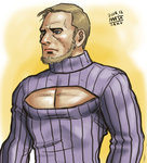 1boy beard blue_eyes brown_hair cleavage_cutout facial_hair male_focus manly matataku meme_attire nose open-chest_sweater pectorals ribbed_sweater signature solo sweater turtleneck