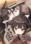 2girls :o amazon_(company) animal_ear_fluff animal_ears atago_(azur_lane) azur_lane bangs bow box brand_name_imitation brown_eyes brown_hair brown_legwear cardboard_box cat_ears commentary_request dated eyebrows_visible_through_hair from_above gloves hair_between_eyes hair_bow high_ponytail highres holding in_box in_container jacket long_hair looking_at_viewer looking_up mappaninatta military_jacket mole mole_under_eye multiple_girls open_mouth pantyhose ponytail revision signature star takao_(azur_lane) translation_request white_bow white_gloves white_jacket wooden_floor