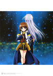 2girls absurdres artbook back-to-back blue_eyes blush book brown_hair cross fingerless_gloves gloves hair_ribbon highres long_hair lyrical_nanoha mahou_shoujo_lyrical_nanoha mahou_shoujo_lyrical_nanoha_a's mahou_shoujo_lyrical_nanoha_the_movie_2nd_a's multiple_girls official_art okuda_yasuhiro reinforce ribbon short_hair silver_hair skirt smile tome_of_the_night_sky yagami_hayate