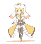 1girl adapted_costume cosplay hat inishie kyubey mahou_shoujo_madoka_magica mawaru_penguindrum parody princess_of_the_crystal princess_of_the_crystal_(cosplay) seizon_senryaku solo thighhighs tomoe_mami