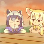 2girls :3 animal_ears black_gloves black_neckwear blonde_hair bow bowtie breast_pocket brown_eyes chin_rest colo_(frypan_soul)_(style) commentary_request common_raccoon_(kemono_friends) dated evening fang fennec_(kemono_friends) fox_ears fur_collar fur_trim gloves grey_hair half-closed_eye jitome kemono_friends lens_flare looking_at_another multicolored_hair multiple_girls one_eye_closed outdoors pink_sweater pocket raccoon_ears rinya_(makaroni-rinya) short_sleeve_sweater sky sparkle sweater tears twitter_username upper_body white_gloves yellow_neckwear