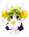 1girl animal_ears animal_hat bangs bell bell_collar cat_ears cat_hat closed_mouth collar dejiko di_gi_charat gloves green_eyes green_hair hair_bell hair_between_eyes hair_ornament hat jingle_bell koge_donbo looking_at_viewer puffy_short_sleeves puffy_sleeves short_hair short_sleeves smile solo upper_body white_background white_gloves