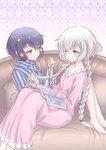 2girls barefoot black_hair blue_eyes braid braiding_hair commentary_request couch dress hairdressing highres konno_junko leaning_back long_hair low_twintails magazine mizuno_ai multiple_girls nightgown pajamas pillow pink_dress reading red_eyes short_hair silver_hair sitting sleepwear smile striped striped_pajamas studiozombie twin_braids twintails very_long_hair zombie_land_saga