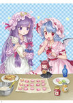 3girls absurdres ama-tou apron ascot bat_wings blue_background blue_hair bottle bowl checkered checkered_background cookie crescent crescent_moon_pin dress eating food hair_ribbon hand_up hat hat_ribbon head_wings highres holding honey jam koakuma long_hair macaron maid_apron minigirl mob_cap multiple_girls pastry_bag patchouli_knowledge pink_hat plate puffy_short_sleeves puffy_sleeves purple_eyes purple_hair red_eyes red_hair red_neckwear red_ribbon remilia_scarlet ribbon short_sleeves smile spatula star striped striped_dress touhou wings wrist_cuffs
