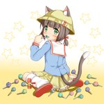 1girl animal_ears azur_lane bangs bell blue_shirt blush bow brown_footwear brown_hair candy cat_ears cat_girl cat_tail closed_mouth commentary_request ears_through_headwear eyebrows_visible_through_hair food gradient gradient_background green_eyes hat highres holding holding_lollipop jingle_bell kindergarten_uniform kneehighs kumaneko_rococo lifebuoy lollipop long_sleeves looking_at_viewer looking_back loose_socks low_twintails mutsuki_(azur_lane) pleated_skirt polka_dot red_bow sailor_collar school_hat shirt shoe_soles short_twintails sitting skirt solo star tail twintails wariza white_background white_legwear white_sailor_collar yellow_background yellow_hat yellow_skirt