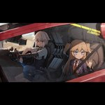 2girls blonde_hair blue_eyes car crossover cyberpunk dana_zane driving english_text eyebrows_visible_through_hair girls_frontline ground_vehicle gun hat looking_afar mechanical_arm motor_vehicle multiple_girls official_art police_hat red_eyes shotgun smile source_request spoilers super_shorty_(girls_frontline) va-11_hall-a weapon white_hair