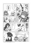 4girls :o >_< arm_up bow comic delphinium_(flower_knight_girl) flower_knight_girl greyscale hair_bow hair_ornament happy highres ionocidium_(flower_knight_girl) jacket kadose_ara katabami_(flower_knight_girl) monochrome multiple_girls oxalis_(flower_knight_girl) short_hair short_twintails smile solid_circle_eyes translation_request twintails x_hair_ornament