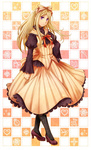 1girl alternate_costume axis_powers_hetalia bad_id bad_pixiv_id belarus_(hetalia) blonde_hair bow dress hair_bow hair_ribbon high_heels pantyhose petticoat pose purple_eyes red_ribbon ribbon riku_(me-in) shoes solo striped striped_dress striped_ribbon