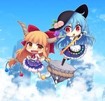 2girls :d :o album_cover bangs barefoot black_hat blue_hair blue_skirt blue_sky blunt_bangs boots bow chain chibi clenched_hands cloud cover cube day fang food fruit gourd hair_bow hat hinanawi_tenshi holding holding_sword holding_weapon horn_ribbon horns ibuki_suika keystone long_hair low-tied_long_hair miruki multiple_girls oni open_mouth orange_hair peach puffy_short_sleeves puffy_sleeves purple_skirt pyramid_(geometry) red_bow red_eyes ribbon rope shide shimenawa shirt short_sleeves sidelocks skirt sky sleeveless sleeveless_shirt smile sphere sword sword_of_hisou touhou very_long_hair weapon white_shirt wrist_cuffs