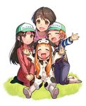 4girls :d ^_^ animal_costume animal_print apple_brk arm_around_waist baseball_cap brown_eyes brown_hair cinderella_girls_gekijou closed_eyes commentary_request cosplay cow_costume cow_print gloves grass hat ichihara_nina idolmaster idolmaster_cinderella_girls jumpsuit kigurumi kneeling korean_commentary long_hair long_sleeves looking_at_viewer multiple_girls oikawa_shizuku on_ground open_mouth orange_hair outdoors outstretched_arms overalls reaching_out ryuuzaki_kaoru seiza shirt short_hair sitting smile spread_arms striped striped_shirt tachibana_arisu translated very_long_hair very_short_hair white_background