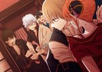 1girl 4boys anger_vein black_hair black_jacket black_pants black_shirt blazer bra_strap brown_hair collarbone collared_shirt gintama glasses hair_bun hand_on_head hijikata_toushirou holding holding_sword holding_weapon jacket japanese_clothes kagura_(gintama) kimono long_sleeves looking_back multiple_boys okita_sougo open_blazer open_clothes open_jacket open_mouth open_shirt orange_hair pants red_eyes red_shirt ribbon-trimmed_shirt sheath shimura_shinpachi shirt short_hair silver_hair sweat sword szzz_k unsheathing weapon white_kimono white_neckwear white_shirt