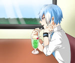 1boy blue_hair blue_neckwear cherry cup drinking_glass food fruit male_focus matsudappoiyo multicolored_hair necktie open_mouth red_eyes roz_(hal20010910) solo streaked_hair table utau white_hair window wristband