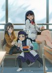 3girls :d absurdres ainu_clothes arm_support asirpa black_hair black_legwear black_pants black_skirt blue_eyes blue_skirt blush bow bowtie brown_jacket cardigan chair chopsticks classroom collared_shirt commentary crossover desk english_commentary food golden_kamuy hair_ornament hairclip headband highres holding jacket justin_leyva_(steamy_tomato) leaning_back long_hair long_sleeves miniskirt monster multiple_crossover multiple_girls necktie no_socks obentou on_desk open_mouth pants pantyhose parted_lips pleated_skirt purple_eyes red_neckwear sakurajima_mai school_desk season_connection seishun_buta_yarou shirt shoes sitting sitting_on_desk skirt smile ssss.gridman standing taiyaki takarada_rikka translated uwabaki wagashi white_cardigan white_jacket white_shirt wing_collar wristband