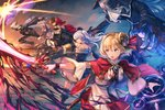 1boy 3girls arm_behind_back arm_up arms_behind_back ascot axe bangs bare_shoulders black_dress black_gloves blonde_hair boots bracelet brown_hair cape capelet carrying claw_(weapon) claws commentary_request djeeta_(granblue_fantasy) doll_joints dress elbow_gloves erune frilled_dress frills gem gloves granblue_fantasy gun hat holding holding_sword holding_weapon hood jacket jewelry lloyd_(granblue_fantasy) long_sleeves magic_circle mask medium_hair mini_hat multiple_girls open_mouth orchis piggyback puffy_short_sleeves puffy_sleeves red_eyes red_hood red_skirt renie ribbon runeslayer_(granblue_fantasy) sheath shirt short_hair short_sleeves silver_hair six_(granblue_fantasy) skirt string sword teeth top_hat torio_(mocd1985) trench_coat twintails weapon white_gloves white_shirt wide_sleeves wolf wulf