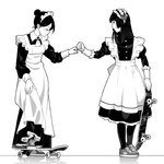 2girls apron closed_eyes commentary dress fist_bump frills full_body greyscale hair_bun holding holding_skateboard long_dress long_sleeves looking_at_another maid maid_apron maid_headdress monochrome multiple_girls original pantyhose shoes simple_background skateboard sneakers standing suzushiro_(suzushiro333) white_background