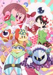 +_+ 2girls :d ;) adeleine bandana bandana_waddle_dee bird black_hair black_skirt blush_stickers brown_eyes buttons closed_eyes green_sweater hair_ornament hand_up hat heart highres king_dedede kirby kirby's_dream_land kirby_(series) kracko mask meta_knight multiple_girls one_eye_closed open_mouth penguin polka_dot ponto1588 red_hat skirt smile staff star sweater tilted_headwear waddle_doo wig x_hair_ornament