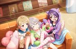 3girls ahoge artist_request bangs blonde_hair blush braid brown_eyes closed_eyes couch drill_hair earrings eyebrows_visible_through_hair eyepatch fang food food_print friends hair_between_eyes hayasaka_mirei heart heart_pillow holding holding_stuffed_animal hood hoodie hoshi_shouko idolmaster idolmaster_cinderella_girls idolmaster_cinderella_girls_starlight_stage individuals indoors jewelry long_hair long_sleeves looking_at_another magazine morikubo_nono multicolored_hair multiple_girls mushroom mushroom_print official_art open_mouth pillow purple_hair ringlets short_hair side_braid silver_hair single_braid sitting sleeves_past_wrists smile striped striped_legwear stuffed_animal stuffed_toy