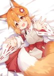 1girl :d animal_ear_fluff animal_ears apron bangs bed_sheet blush brown_apron brown_eyes brown_hair eyebrows_visible_through_hair fang flower fox_ears fox_girl fox_tail hair_between_eyes hair_flower hair_ornament hakama japanese_clothes kimono long_sleeves lying miko omuretsu on_side open_mouth red_flower red_hakama ribbon-trimmed_sleeves ribbon_trim senko_(sewayaki_kitsune_no_senko-san) sewayaki_kitsune_no_senko-san signature smile solo tail white_kimono wide_sleeves