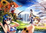 4girls absurdres autumn_leaves bangs bare_shoulders barefoot bellflower bikini birch bird black_eyes black_hair blue_eyes blue_hair blue_legwear blue_sky blunt_bangs breasts brown_hair camellia cherry_blossoms cleavage clover_(flower) dandelion day dress ekusa_takahito flower flower_bracelet furisode green_eyes hair_flower hair_ornament hand_on_own_cheek hands_on_own_chest hat head_wreath highres holding holding_flower huge_filesize japanese_clothes kimono leaf_hair_ornament lying medium_breasts morning_glory multiple_girls obi on_stomach one_side_up original outstretched_hand partially_submerged purple_eyes sash scan seasons short_hair sitting sky smile source_request spider_lily strap_gap straw_hat striped striped_bikini striped_swimsuit sunflower swimsuit water waterfall wings